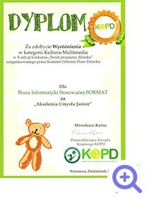 Akademia Umysłu JUNIOR otrzymała dyplom za zdobycie wyróżnienia w kategorii Kultura - Multimedia